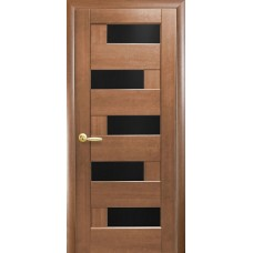 Межкомнатные двери Новый Стиль Пиана стекло blk 2000х600 Ольха золотая