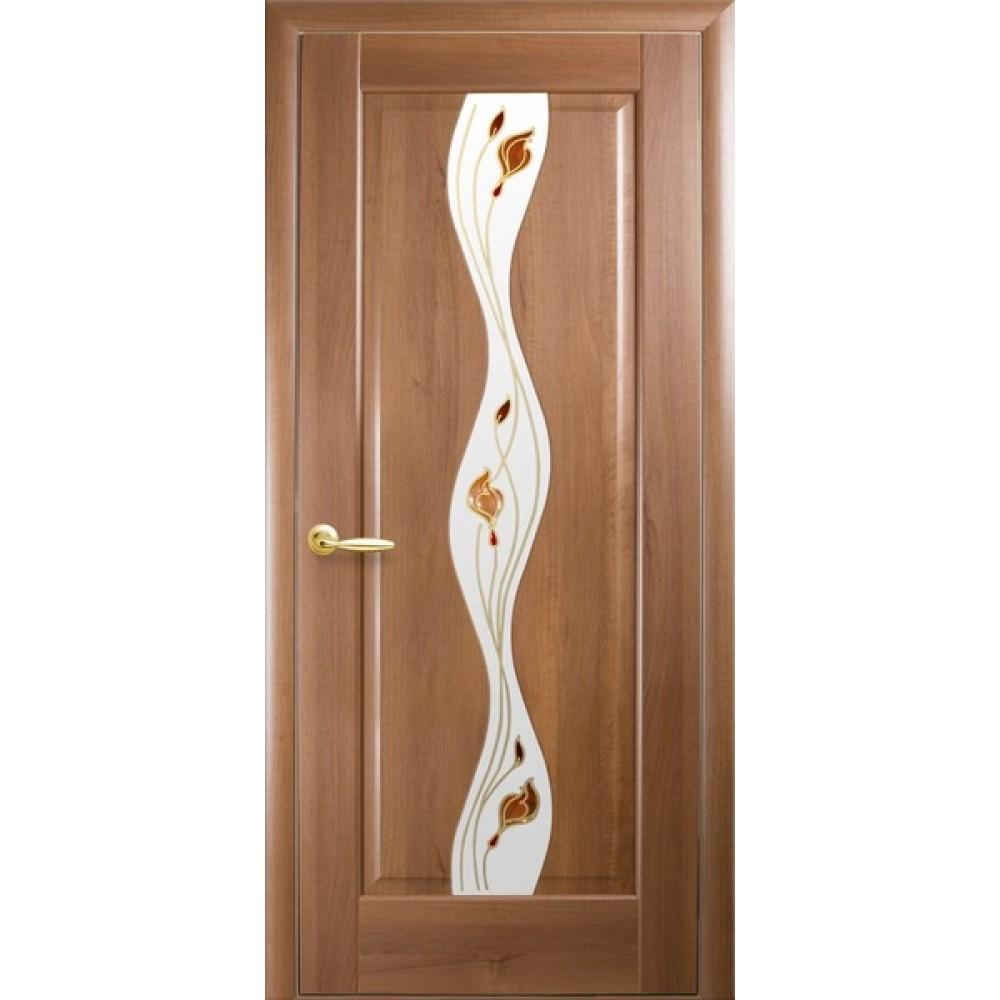Межкомнатные двери Новый Стиль Волна Р1 (со стеклом сатин) 2000х700 Золотая ольха