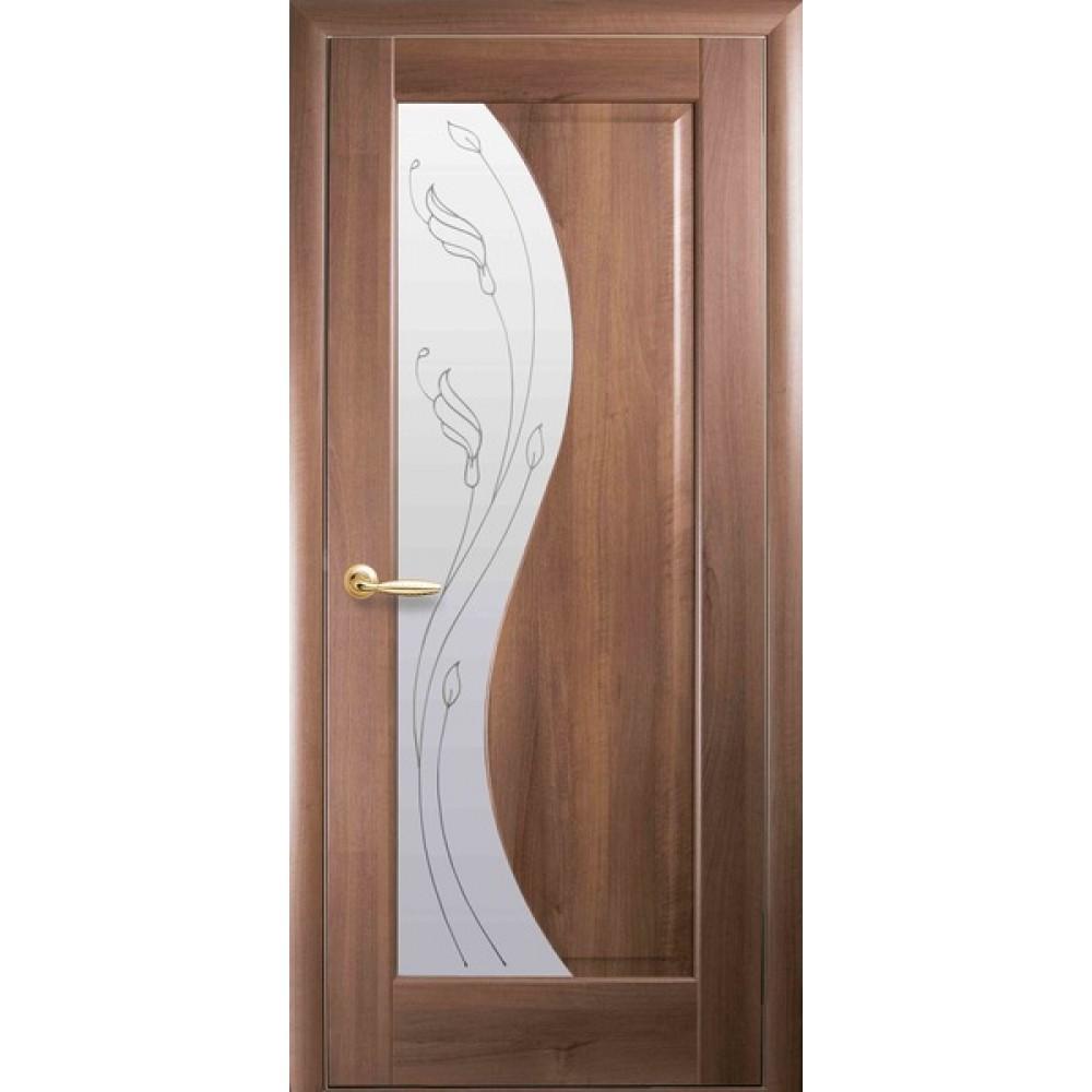 Межкомнатные двери Новый Стиль Эскада Р2 (со стеклом сатин) 2000х600 Золотая ольха