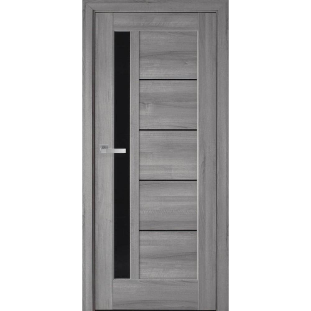 Межкомнатные двери Новый Стиль Грета (с черным стеклом) 2000х900 Бук пепельный