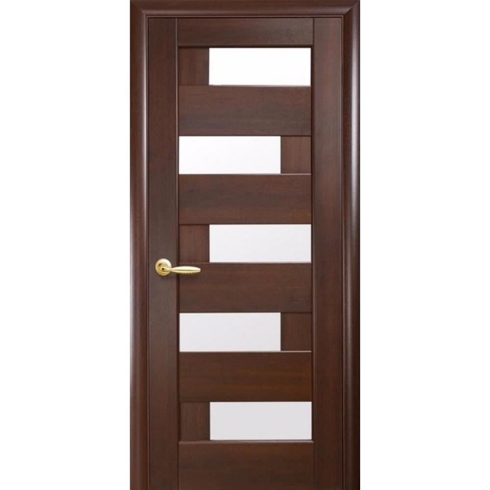 Межкомнатные двери Новый Стиль Пиана стекло сатин 2000х800 Каштан