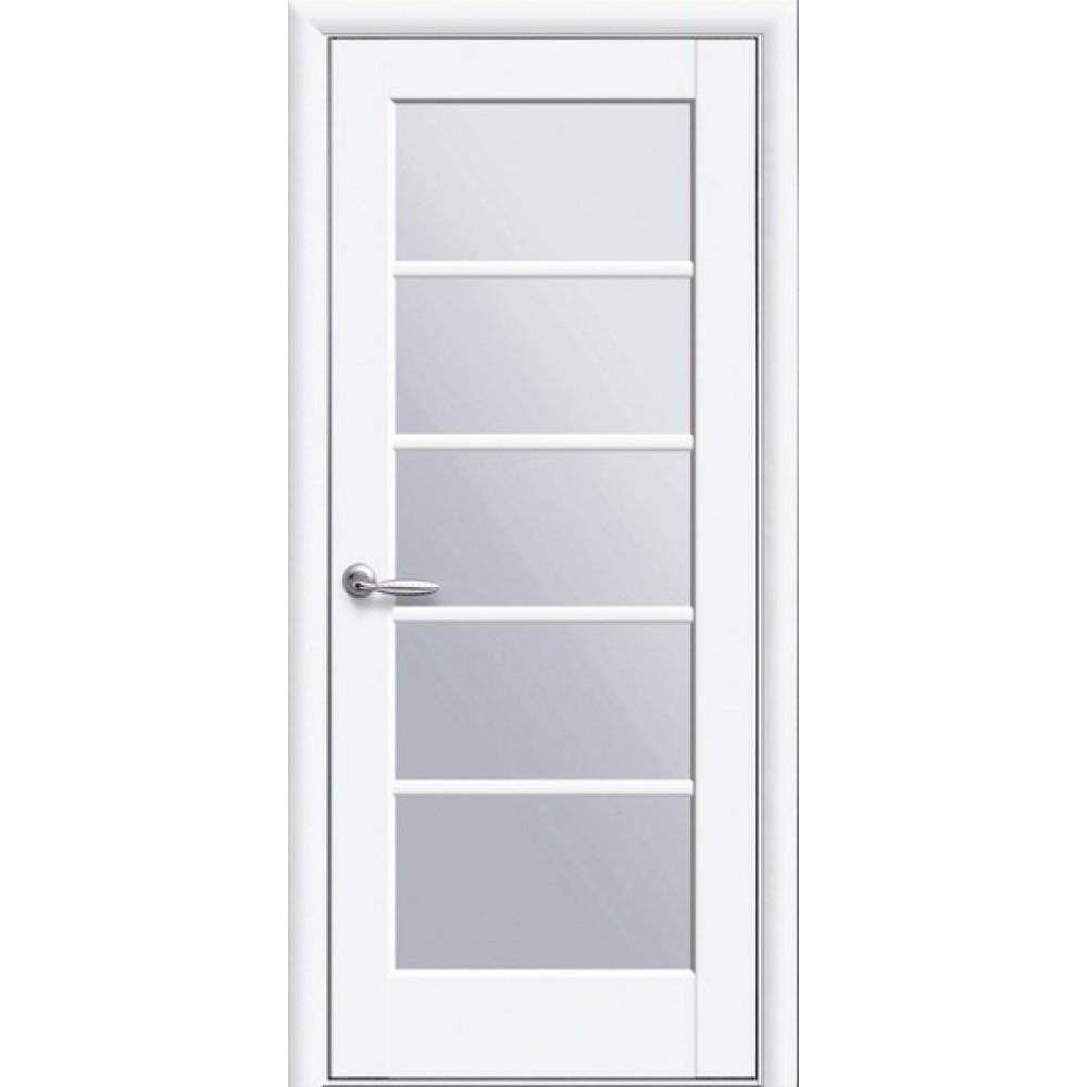 Межкомнатные двери Новый Стиль Муза (со стеклом сатин) 2000х600 Белый матовый